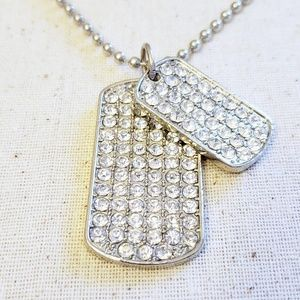 Jewelry - Double Crystal Dog Tag Pendant Necklace